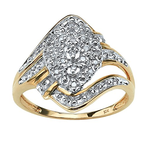 Round White Diamond 10k Yellow Gold Swirled Cluster Ring (.10 cttw, GH Color, I3 Clarity) Size 9