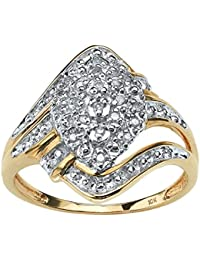 Round White Diamond 10k Yellow Gold Swirled Cluster Ring (.10 cttw, GH Color, I3 Clarity)