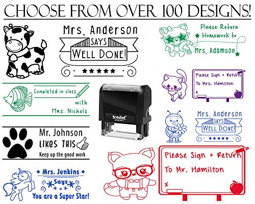 - Choose from Over 100 Animal Designs!! Custom Teacher Stamps for Grading Self Inking Classroom Stamp Custom Personalized Completed in Class Please Return Homework Owl Fish Frog Horse Dog Puppies Cat