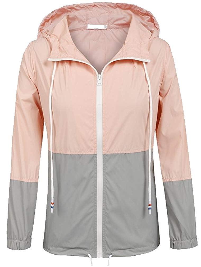 Vanbuy Women's Lightweight Windbreaker Casual Outdoor Coat Hooded Rain Jacket Raincoat