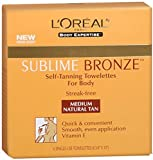 Loreal Self Tan L'Oreal SUBLIME BRONZE Self-Tanning Towelettes For Body Medium Natural Tan 6 Each (Pack of 2)