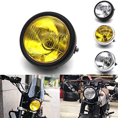 Nrpfell Nueva Motocicleta Negro Metal Retro E4 Faro Delantero Hal/ógeno para Cg125 Gn125 Cafe Racer Bobber Custom Plata