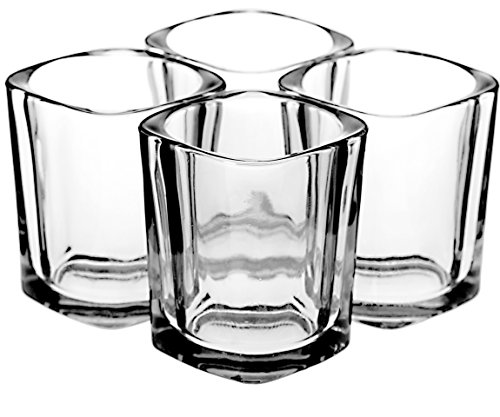 Square Shot Glass Set (4 Glasses) – Heavy Base 2 Ounce Shot Glasses For Liquor and Espresso – Bonus Tapered Liquid Pour Spout and Polishing Cleaning Cloth Included in Gift -