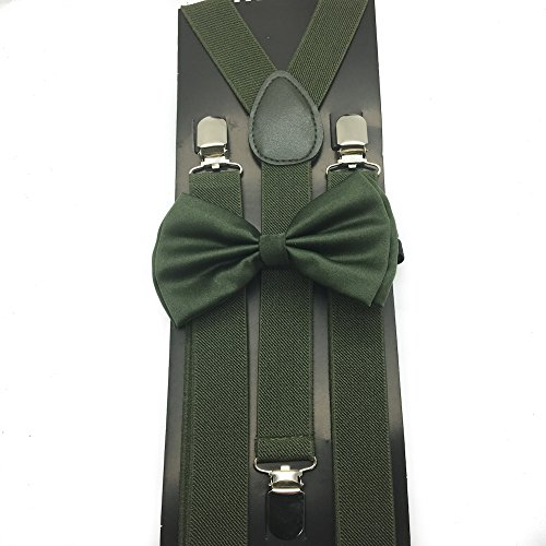 Awesome Olive Green Color Wedding Accessories Adjustable Bow Tie & Suspenders