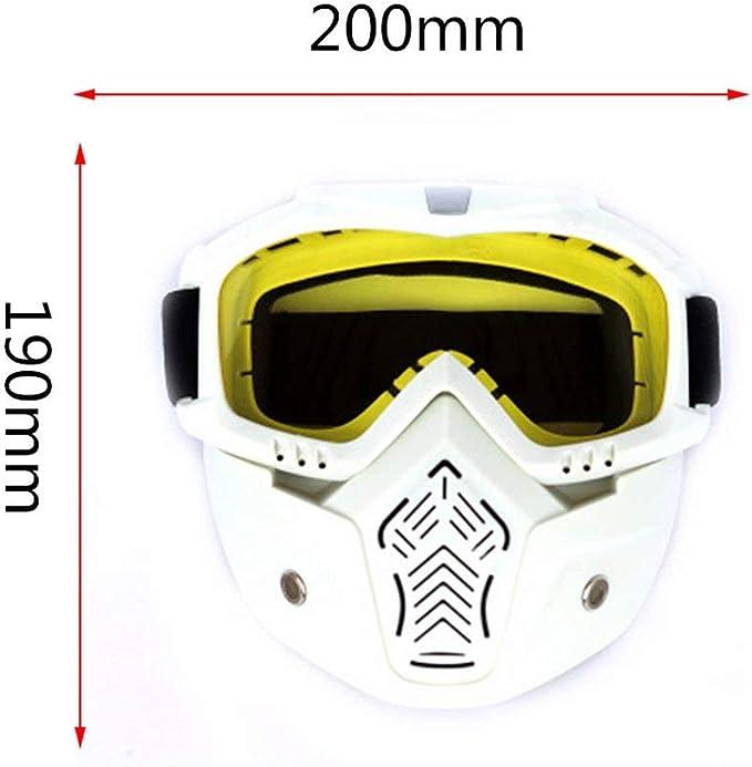 JohnJohnsen Vintage Motocross Goggles Cascos Goggles Ski Sport Adult Goggles Motocicleta para Off-Road Motocicleta A Prueba de Suciedad Blanco y Amarillo