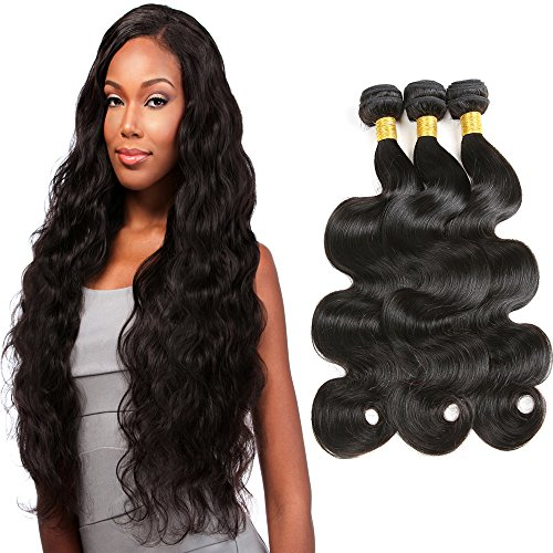 8A Unprocessed Brazilian Virgin Hair Body Wave 3 Bundles Hair Weave Natural Black 18 20 22 300 G Human Hair Extensions (18 20 22)