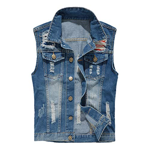 iZZZHH Men's Denim Vest Casual Cowboy Jacket in Shoulder Blouse Tops Tank(B-Blue,XXL)