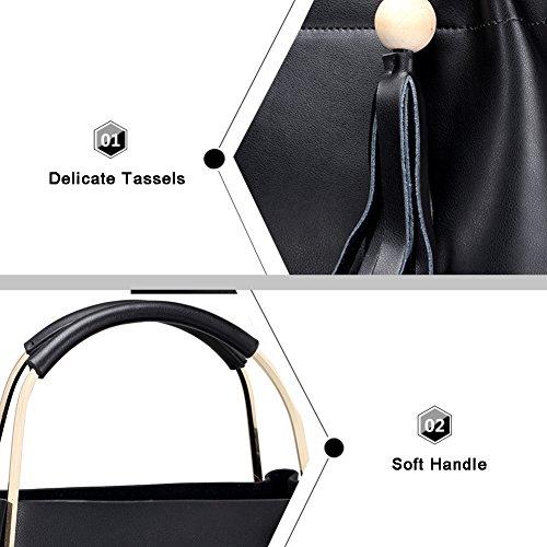 Yoome bolsos de cuero real para las mujeres bolsas de borla bolsas de manija superior bolsos de la taleguilla satchel grandes - de color caqui Verde