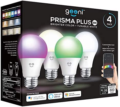 Geeni Prisma Plus 800 Wi-Fi LED Smart Light Bulb 4-Pack , 2700-6500K Tunable White, Dimmable, A19 60W, No Hub Required, Light Bulb Compatible with Alexa, Google Assistant