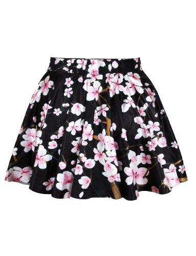 LaSuiveur Womens Floral Sakura Digital Print Stretchy Flared Pleated Casual Mini Skirt