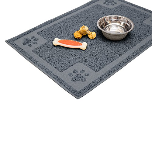 Cavalier Pets, Medium Dog Bowl Mat for Cat and Dog Bowls, Silicone Non-Slip Absorbent Waterproof Dog Food Mat, Easy to Clean, Unique Paw Design, 24 by 16 Inch, Grey