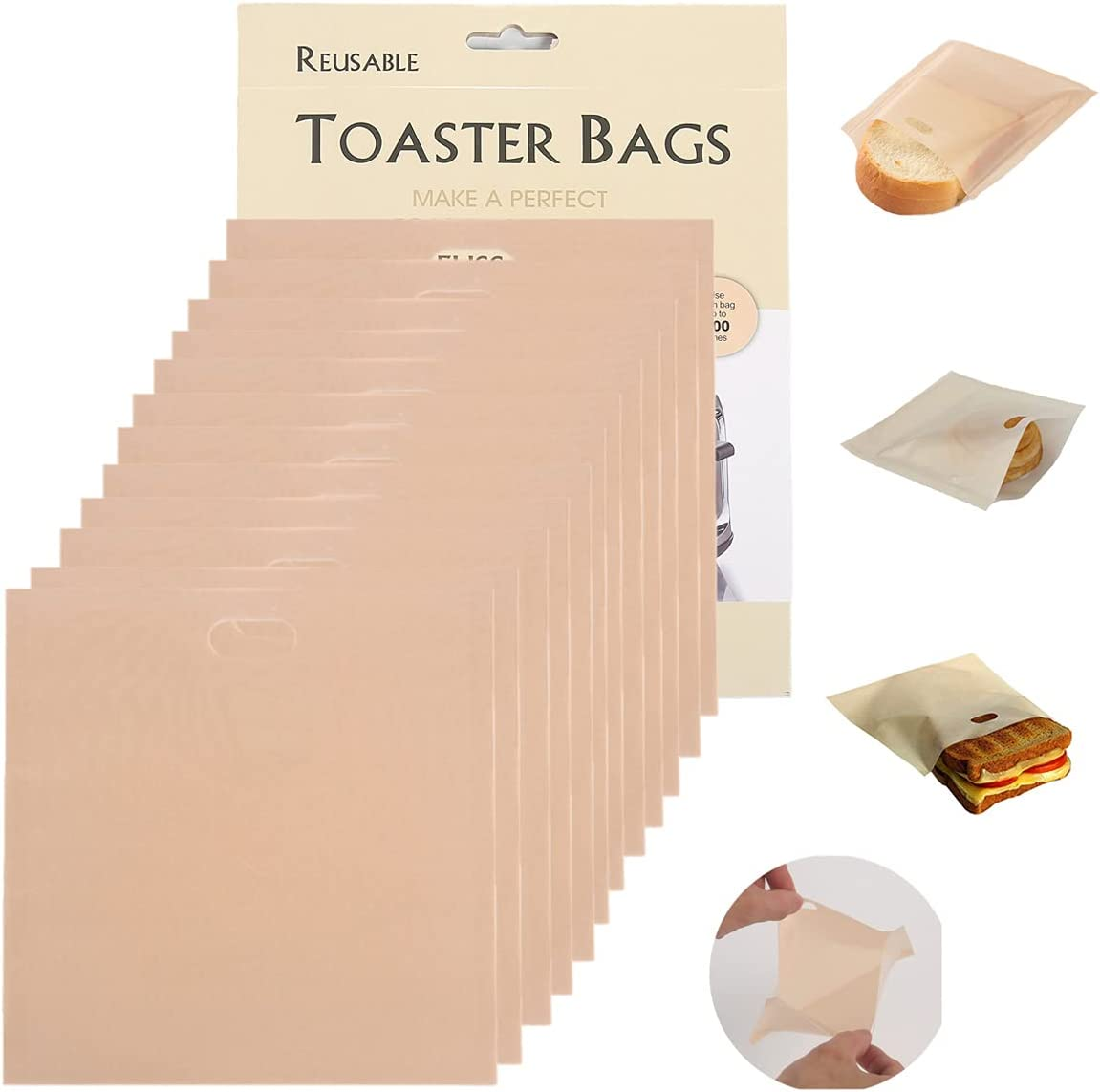 Toaster Bags, 12pcs,Reusable Washable Non-Stick,Heat Resistant Sandwich Bag Pockets for Grilled Cheese,Pizza,Chicken (Large)