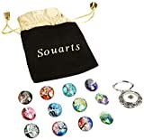 Souarts Interchangeable Eyeglass Holding Snaps Magnetic Brooch with 10 Life Tree Pattern Buttons