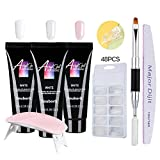 Nail Extension Kit Nails Extension Gel Set Nail Builder Enhancement Kit with Therapy Pen Clip Nail Buffing Strip and Others for Nails Daily Care
