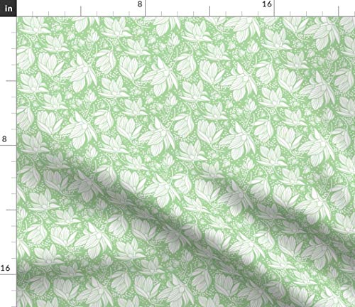 (Spoonflower Flower Fabric - Floral Magnolia Silhouette Mint White Dots by Heatherdutton Printed on Linen Cotton Canvas Ultra Fabric by The)