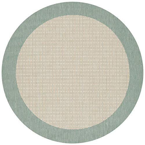 Couristan 1005/5005 Recife Checkered Field Natural/Green Rug, 8-Feet 6-Inch Round
