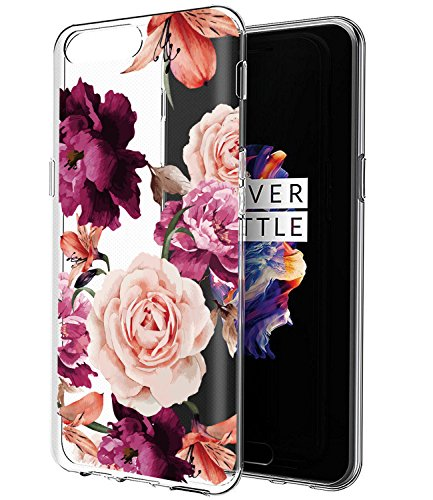 OnePlus 5 Case, OnePlus 5 Case with Flowers BAISRKE Slim Shockproof Clear...