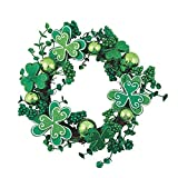 Fun Express - Decorative Shamrock Wreath for St. Patrick's Day - 13 Inches in diameter - 1 Wreath