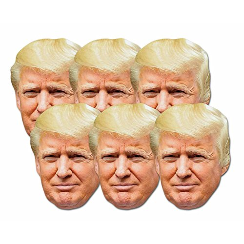 Star Cutouts SMP366 Fun Cardboard Six Pack of Face Masks of Donald Trump. Great Talking Point, Fun for Events and Parties. Hand/A -