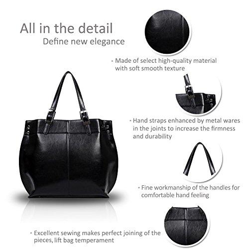 retro Big della Tote delle Nero PU Magnifico alla donne del moda amp;Doris nuova Bag spalla borsa Nicole Pelle qXx6U8z