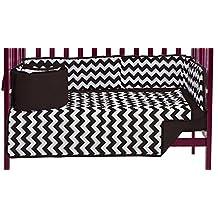 BabyDoll Chevron Dot Port-A-Crib Bedding Set, Brown