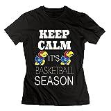HuaYuansvip Kansas Jayhawks KU Basketball Fans Women's T-Shirt Large Black Womens