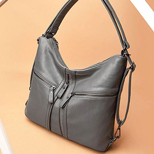 Handbags Crossbody OURBAG Large for Women Ladies Backpack Bag Hobo Bags Dark Shoulder Leather Soft Grey rwrAqU