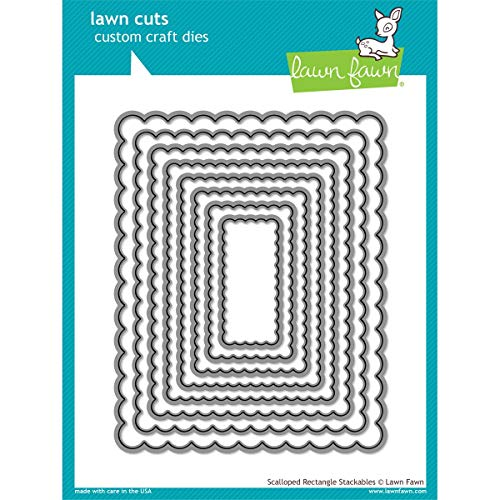 Lawn Fawn Lawn Cuts Custom Craft Die - Scalloped Rectangle Stackables - Rectangle Scallop