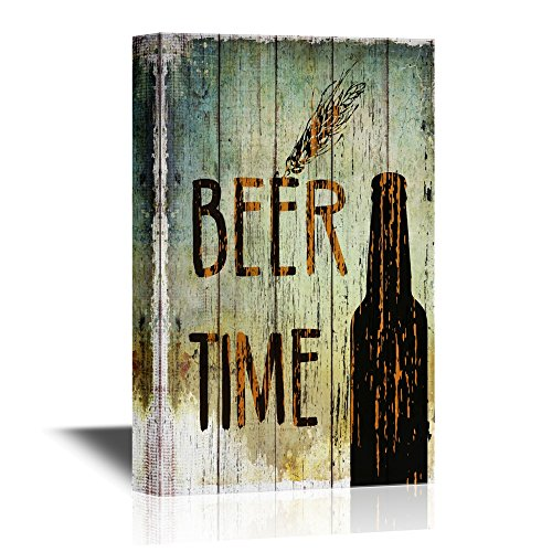 Beer Time on Vintage Wood Style Background