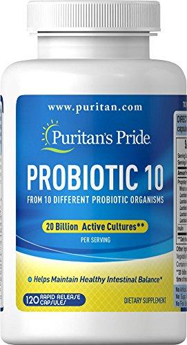 Puritans Pride Rapid Release Probiotic 10 Capsules, 120 Count