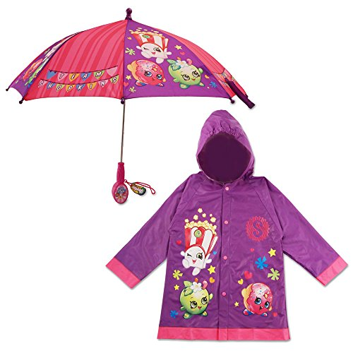 Shopkins Little Girls Character Slicker and Umbrella Rainwear Set, Age 2-7