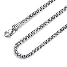 FOSIR 2-4MM Mens Womens Stainless Steel Silver Rolo Cable Chain Necklace 18-36 Inch