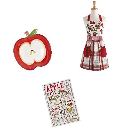 Apple Pie Bakers Gift Set Including Baking Dish Apron and Kitchen Towel