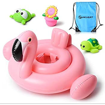 Pfloat Flamingo Baby Float,Inflatable Baby Swimming Float For Age 6 -36 Months With 3 Bath Toys&Carry Bag