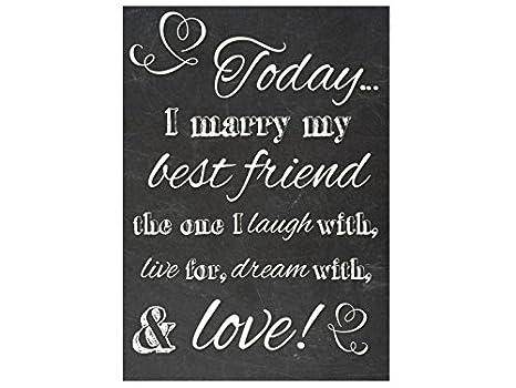 Pared Cartel Pizarra Today I Marry My Best Friend 2 boda ...