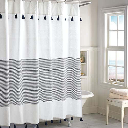 Peri Home Panama Stripe 100% Cotton Fabric Shower Curtain for Bathroom, 72 x 72 inches, Navy (With Curtain Stripes Shower)