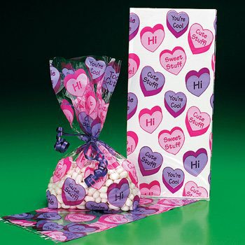 Valentines Goody Bags (Conversation Heart Cello Goody Bags - (12 Count) VALENTINE'S DAY / Party Favor & Goody Bags & Cellophane Treat Bags)