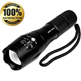 JIAJIA Spring 900 Lumen CREE XM-L T6 Zoomable, Waterproof Portable Tactical LED Flashlight with 5 Light Modes
