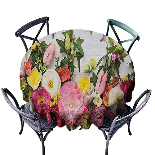 VIVIDX Anti-Fading Tablecloths,Rustic,Bunch of Flowers Ranunculus on Wood Backdrop Rose Floral Arrangement Spring Pattern,for Events Party Restaurant Dining Table Cover,43 INCH,Multicolor ()