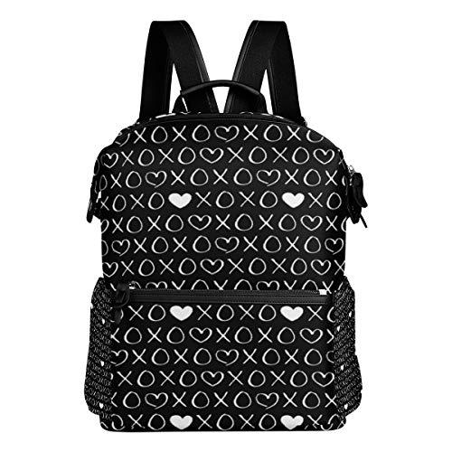 XOXO Love Sweet Hearts Kisses Print Lovers Wedding Valentine Black White Shoulder Bag Daypacks Teenagers's Travel Bagpacks Casual Daypack Bag Backpack for Men Women ()