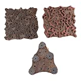 IndianShelf Set of 3 Piece Brown Wooden Fabric Paper Handcarved Printing Stamp Textile Canvas Block