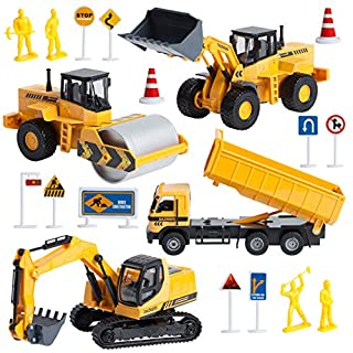 Build Me Diecast Construction Vehicles Tractor Set of 4 Metal Friction Powered Pull Back Toys with Excavator, Front Loader, Dump Truck, Road Roller - Push and Go Trucks for Kids, 1/50 Scale
