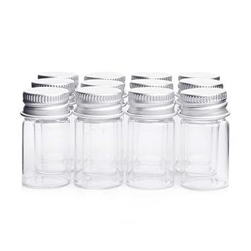 Danmu Art Vials Botella de cristal transparente con tapa de tornillo de aluminio, botes de