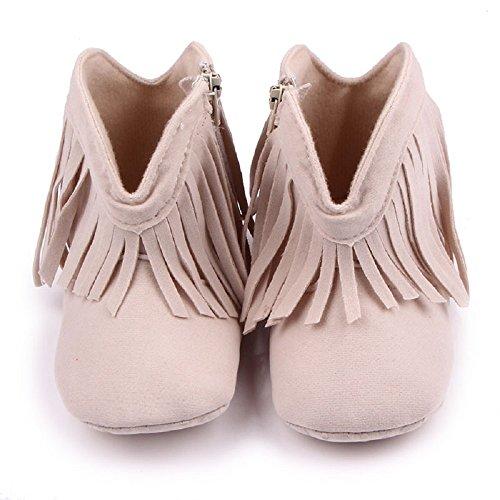 Auxma Para bebé de 0-18 meses, recién nacido bebé niña niño Zapatos botas suave suela zapatos prewalker Beige