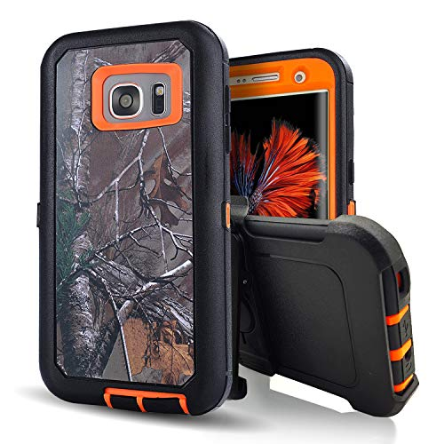S7 Edge Case, Heavy Duty Hybrid Bumper/DustProof Rugged Scratch Resistant Shockproof Military Grade Defender Armor Slim Camo Cover Case with Belt Clip for Samsung Galaxy S7 Edge (Xtra - Camo Cell Cover Phone