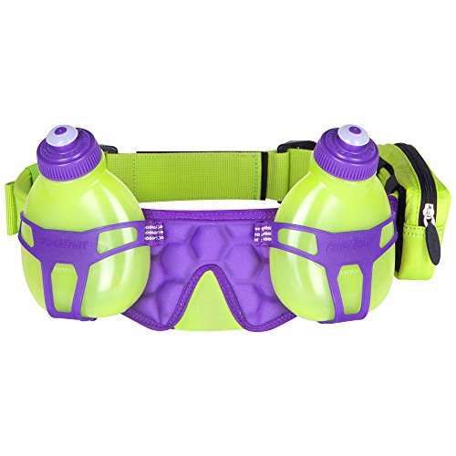 FuelBelt H2O-Helium 2 Bottle Hydration Belt, Lagoon Green/Grape, One Size -