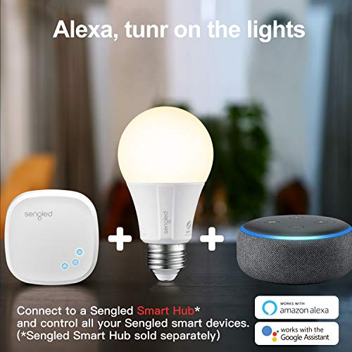 Sengled Smart light Bulb Starter Kit, Smart Bulbs that Work with Alexa & Google Home, Smart Bulb A19 Alexa Light Bulbs, Smart LED Soft White Light, 9W (60W Equivalent), 8 Smart Bulbs & 1 Smart Hub