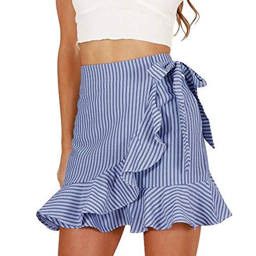 QueenMMWomen's Striped Asymmetrical Ruffles High Waist Printed Cute Casual Mini Skirt Blue