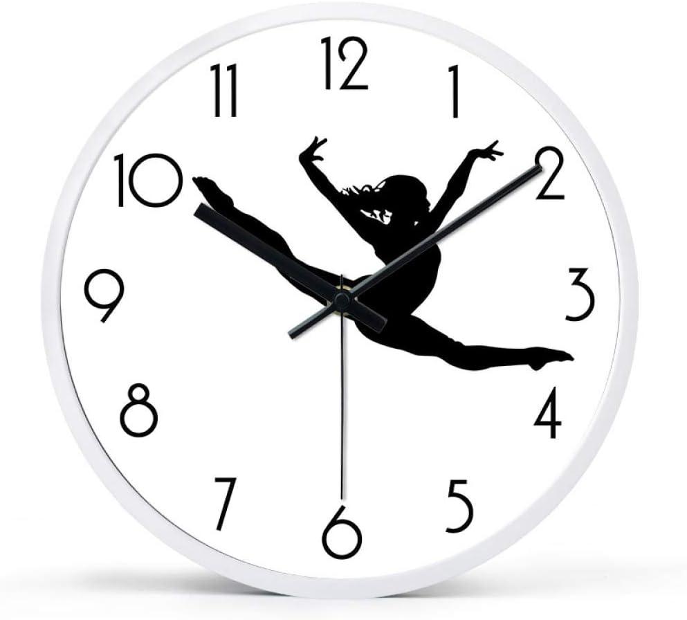 Kuingbhn Dance Frame Moderno Silencioso Reloj de Pared Non Ticking Silent Quartz Decorative Wall Clock 16 Inches F Black Needle White