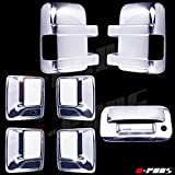 A-PADS Chrome Covers Combo Set for Ford SUPER DUTY F250 F350 2008-2016 - Full Mirrors, WITH Signal + 4 Door Handles, WITHOUT Passenger Keyhole + Tailgate, WITH Keyhole